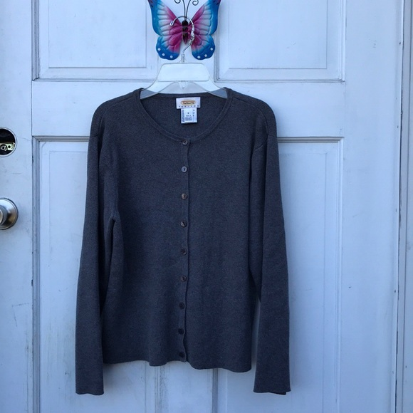 Talbots Petites Gray Button Up Cardigan Sweater M